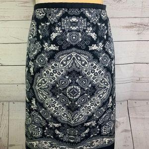 Ann Taylor Loft Silk Blue & White Damask Skirt